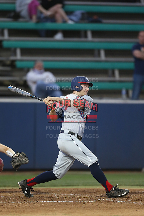 Sam Brown (11) of the Gonzaga Bulldogs bats during a game against the Loyola Marymount Lions at Page Stadium on March 27, 2015 in Los Angeles, California. Loyola Marymount defeated Gonzaga 6-5.(Larry Goren/Four Seam Images)