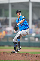 Akron RubberDucks starting pitcher Jake Paulson (45) delivers a pitch during a game against the Harrisburg Senators on August 19, 2018 at FNB Field in Harrisburg, Pennsylvania.  Akron defeated Harrisburg 3-0 in a rain shortened game.  (Mike Janes/Four Seam Images)