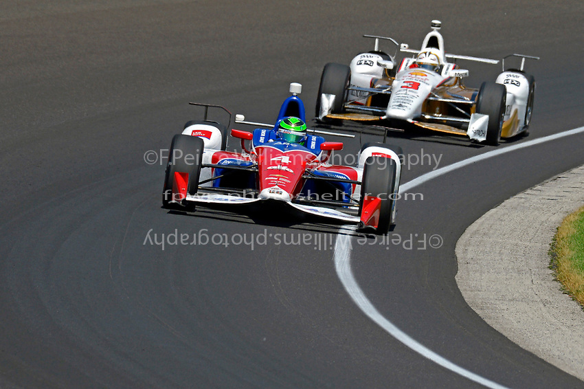 Verizon IndyCar Series<br /> Indianapolis 500 Carb Day<br /> Indianapolis Motor Speedway, Indianapolis, IN USA<br /> Friday 26 May 2017<br /> Conor Daly, A.J. Foyt Enterprises Chevrolet, Helio Castroneves, Team Penske Chevrolet<br /> World Copyright: F. Peirce Williams