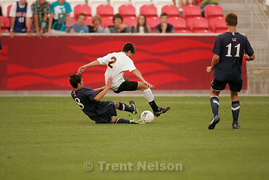 Sandy - Mountain View vs. Woods Cross High School boys soccer, 4A state championship game  Thursday May 21, 2009 at Rio Tinto Stadium..Mountain View's Connor Salmon WX Tyler Dodd