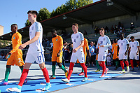 England's George Hirst walks onto the pitch followed by No 4, Josh Tymon prior to kick-off during England Under-18 vs Ivory Coast Under-20, Toulon Tournament Final Football at Stade de Lattre-de-Tassigny on 10th June 2017