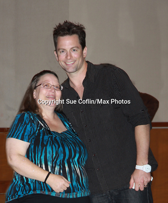 "Young & Restless Michael Muhney ""Adam Newman""  poses with VIkki at Meet & Greet wine tasting event a part of the Soap Opera Festivals Weekend - ""All About The Drama"" on March 24, 2012 at Bally's Atlantic City, Atlantic City, New Jersey.  (Photo by Sue Coflin/Max Photos)"