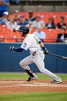 Lynchburg Hillcats shortstop Alexis Pantoja (6) at bat during the second game of a doubleheader against the Frederick Keys on June 12, 2018 at Nymeo Field at Harry Grove Stadium in Frederick, Maryland.  Frederick defeated Lynchburg 8-1.  (Mike Janes/Four Seam Images)