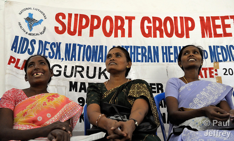 Participants in a support group for HIV positive people at the Gurukul  Lutheran Theological College in Chennai, India. (Note restrictions on use in Special Instructions below.)