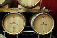 AGO 2012 - Puglia, Salento, Tuglie, Cantine Mottura produttori vini salentini dal 1927.  I vini di pregio sono invecchiati in barriques a tonneaux di rovere.AUG 2012 - Apulia, Salento, Tuglie, Cantine Mottura one of the most important wineries in Salento since 1927. The winery's top wines are aged in oak casks in the barrel cellar..