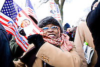 Hannah Wright cheers on the inauguration of Barack Obama as the 44th President of the United States in Washington D.C. on January 20th, 2009.