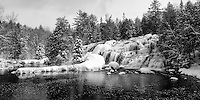 A panoramic view of beautiful Bond Falls after a fresh snowfall. Paulding, MI