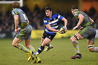 Freddie Burns of Bath Rugby in possession. Anglo-Welsh Cup match, between Bath Rugby and Newcastle Falcons on January 27, 2018 at the Recreation Ground in Bath, England. Photo by: Patrick Khachfe / Onside Images