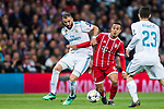 Thiago Alcantara (R) of FC Bayern Munich fights for the ball with Karim Benzema of Real Madrid during the UEFA Champions League Semi-final 2nd leg match between Real Madrid and Bayern Munich at the Estadio Santiago Bernabeu on May 01 2018 in Madrid, Spain. Photo by Diego Souto / Power Sport Images