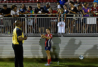 BOYDS, MD - JULY 20: Washington Spirit forward Mallory Mal Pugh (11) takes a selfie photo with a fan after the National Women's Soccer League (NWSL) game between the Houston Dash and Washington Spirit July 20, 2019 at Maureen Hendricks Field at Maryland SoccerPlex in Boyds, MD. (Photo by Randy Litzinger/Icon Sportswire)