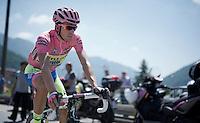 maglia rosa Alberto Contador (ESP/Tinkoff-Saxo) to the start<br /> <br /> Giro d'Italia 2015<br /> stage 18: Melide (SUI) - Verbania (170km)