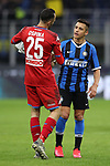 David Ospina of Napoli salutes former team mate whilst at Arsenal, Alexis Sanchez of Inter after the final whistle of the Coppa Italia match at Giuseppe Meazza, Milan. Picture date: 12th February 2020. Picture credit should read: Jonathan Moscrop/Sportimage