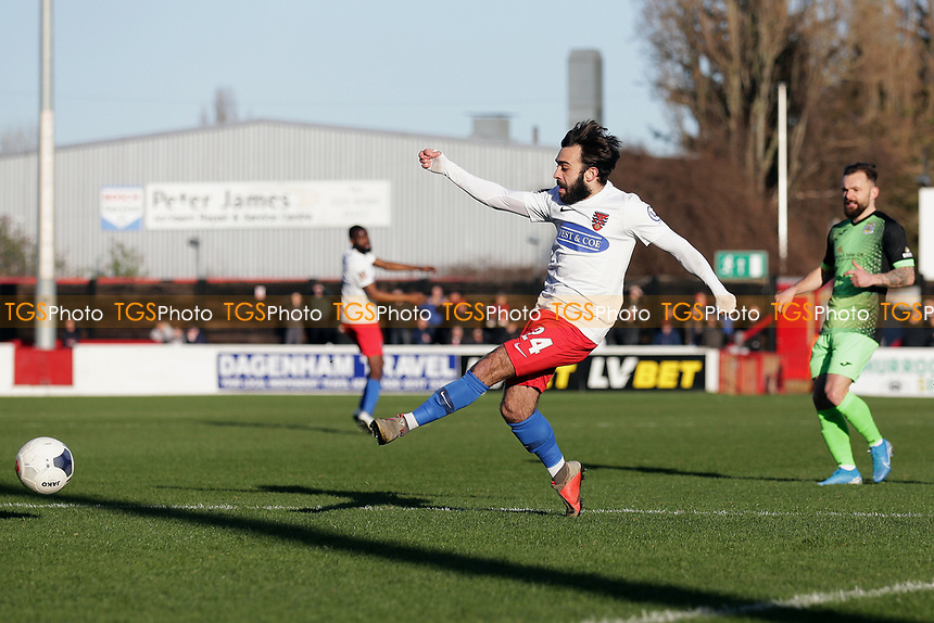 Sam Deering of Dagenham goes close during Dagenham & Redbridge vs Stockport County, Vanarama National League Football at the Chigwell Construction Stadium on 8th February 2020