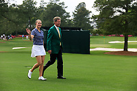 Jennifer Kupcho (USA) is walked out to the prise presentation by Fred Ridley Chair Augusta National Golf Club after the final  round at the Augusta National Womans Amateur 2019, Augusta National, Augusta, Georgia, USA. 06/04/2019.<br /> Picture Fran Caffrey / Golffile.ie<br /> <br /> All photo usage must carry mandatory copyright credit (&copy; Golffile | Fran Caffrey)