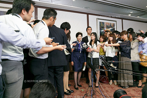 Tokyo Gov. Yuriko Koike answers questions from the media after attended a launch meeting for new political party Tomin First no Kai (Tokyo Citizens First) on June 1, 2017, Tokyo, Japan. Koike officially became the leader of Tomin First no Kai (Tokyo Citizens First) after formerly quitting Japan's ruling Liberal Democratic Party (LDP). Both parties will field rival candidates in the next Metropolitan Assembly election on July 2. (Photo by Rodrigo Reyes Marin/AFLO)
