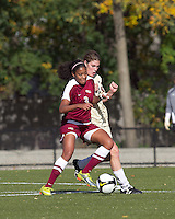 Florida State midfielder Casey Short (3) works against Boston College defender Alyssa Pember (6). Florida State University defeated Boston College, 1-0, at Newton Soccer Field, Newton, MA on October 31, 2010.