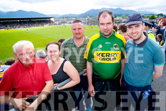 Peter and Lisa Kerins (Tralee) with Mike Naughton, Dan Joe McSweeney and Brendan McSweeney (Killarney), pictured at the Kerry v Clare Munster semi-final at Fitzgerald Stadium, Killarney on Sunday last.