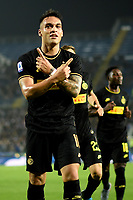 191030 -- BRESCIA, Oct. 30, 2019 Xinhua -- FC Inter s Lautaro Martinez front celebrates his goal during a Serie A soccer match between Brescia and FC Inter in Brescia, Italy, Oct 29, 2019. Photo by Alberto Lingria/Xinhua SPITALY-BRESCIA-SOCCER-SERIE A-INTER MILAN VS BRESCIA PUBLICATIONxNOTxINxCHN<br /> Brescia 29-10-2019 Stadio Mario Rigamonti <br /> Football Serie A 2019/2020 <br /> Brescia - FC Internazionale <br /> Photo Alberto Lingria / Xinhua / Imago  / Insidefoto