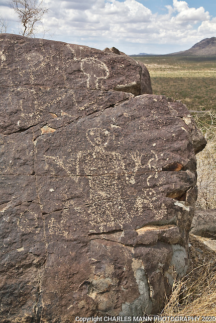A human like petroglyph of a shaman figure adorns a boulder at Three Rivers State Park near Tularosa, New Mexico