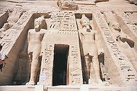 To the north of the Temple of Ramses II in Abu Simbel lies this smaller temple built by Ramses II in honour of his much loved wife, Nefertari. It is dedicated to the goddess Hathor and is fronted by a total of six 32 foot high figures. Two of these are of Nefertari but four are of Ramses II.