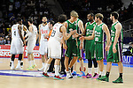 Real Madrid´s players greet Unicaja´s -players during 2014-15 Liga Endesa match between Real Madrid and Unicaja at Palacio de los Deportes stadium in Madrid, Spain. April 30, 2015. (ALTERPHOTOS/Luis Fernandez)