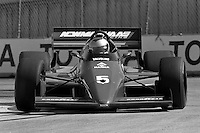LONG BEACH, CA - APRIL 13: Mario Andretti drives his Lola T86/00/Cosworth during the Toyota Grand Prix of Long Beach CART Indy Car race on the temporary Long Beach Street Circuit in Long Beach, California, on April 13, 1986.