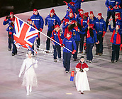 9th February 2018, Pyeongchang, South Korea; 2018 Winter Olympic Games; PyeongChang Olympic Stadium; Skeleton rider Lizzy Yarnold MBE leading the national team during the Opening ceremony carrying flag of Great Britain