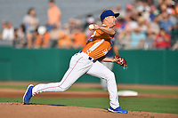 Tennessee Smokies starting pitcher Erich Uelmen (31) delivers a pitch during a game against the Biloxi Shuckers on August 10, 2019 in Kodak, Tennessee. The Shuckers defeated the Smokies 7-3. (Tony Farlow/Four Seam Images)