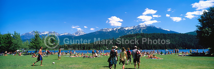 Whistler Resort, BC, British Columbia, Canada - Summer Activities in Rainbow Park at Alta Lake - Blackcomb Mountain Ski Runs in distance, Panoramic View