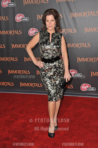 "Marcia Gay Harden at the world premiere of ""Immortals"" at the Nokia Theatre L.A. Live in downtown Los Angeles..November 7, 2011  Los Angeles, CA.Picture: Paul Smith / Featureflash"