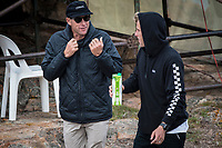 MARGARET RIVER, Western Australia/AUS (Saturday, April 14, 2018) Pat Gudauskas (USA) with coach Tom Whitaker (AUS) - Stop No. 3 on the World Surf League (WSL) Championship Tour, the Margaret River Pro, continued today with the remaining heats of men&rsquo;s Round 1 and women&rsquo;s Round 1 in heavy four-to-six foot (1.2 - 1.8 metre) waves at North Point.<br /> <br /> North Point, the backup site known for its intense, barreling waves, hosted the world&rsquo;s best female CT surfers for the first time in history today. Despite the slower and more challenging conditions, the women dominated the day, including the highest single-wave scores of the event from Tatiana Weston-Webb (HAW) and Carissa Moore (HAW).  <br /> <br /> 2012 WSL Champion Joel Parkinson (AUS) beat Michel Bourez (PYF) and Patrick Gudauskas (USA) to close out the men&rsquo;s competition in Heat 12. Parkinson&rsquo;s heat total of a 10.34 was the highest of the men's morning as conditions slowed over the low tide, showing experience pays at the elite level.Photo: joliphotos.com