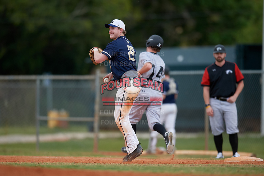 Bethel Wildcats first baseman Parker Mullenbach (22) during the second game of a double header against the Edgewood Eagles on March 15, 2019 at Terry Park in Fort Myers, Florida.  Bethel defeated Edgewood 3-2.  (Mike Janes/Four Seam Images)