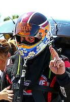 Mar 28, 2014; Las Vegas, NV, USA; NHRA funny car driver Jeff Diehl during qualifying for the Summitracing.com Nationals at The Strip at Las Vegas Motor Speedway. Mandatory Credit: Mark J. Rebilas-