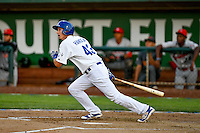 Pioneer League All-Star Mitchell Hansen (43) of the Ogden Raptors at bat against the Northwest League All-Stars at the 2nd Annual Northwest League-Pioneer League All-Star Game at Lindquist Field on August 2, 2016 in Ogden, Utah. The Northwest League defeated the Pioneer League 11-5. (Stephen Smith/Four Seam Images)