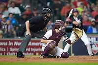 Mississippi State Bulldogs catcher Marshall Gilbert (34) sets a target as home plate umpire Matt McKendry looks on during the game against the Houston Cougars in game six of the 2018 Shriners Hospitals for Children College Classic at Minute Maid Park on March 3, 2018 in Houston, Texas. The Bulldogs defeated the Cougars 3-2 in 12 innings. (Brian Westerholt/Four Seam Images)