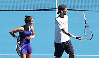 USA v Spain  Mixed Doubles<br /> USA's Jack Sock  and CoCo Vandeweghe beat Feliciano Lopez and Lara Arruabarrena  in 3 sets  in 39 degree heat      at the Hopman Cup Tennis Tournament  played  in Perth Arena Western Australia  on  Monday  January 2nd  2017