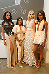 Fashion designer Carolina Defreites poses with model during the New York School of Design Spring Summer 2018 fashion show presentation at Calligaris on 55 Thompson Street on September 7, 2017 during New York Fashion Week.