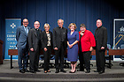 September 5, 2017; The panelists and moderator of a discussion on the history and impact of the Land O'Lakes charter on Catholic higher education pose for a group photo following the event. From left to right: John T. McGreevy, Dean of Notre Dame's College of Arts and Letters, Rev. Joseph M. McShane, S.J., president of Fordham University, Julie H. Sullivan, president of the University of St. Thomas, Rev. John I. Jenkins, C.S.C., president of the University of Notre Dame, Kathleen Sprows Cummings, director of Notre Dame's Cushwa Center for the Study of American Catholicism, Patricia McGuire, president of Trinity Washington University, and Rev. William P. Leahy, S.J., president of Boston College. (Photo by Matt Cashore/University of Notre Dame)