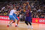 League ACB-ENDESA 2018/2019. Game: 14.<br /> FC Barcelona Lassa vs Monbus Obradoiro: 79-73.<br /> Tryggvi Hlinason, Nacho Llovet &amp; Kevin Seraphin.