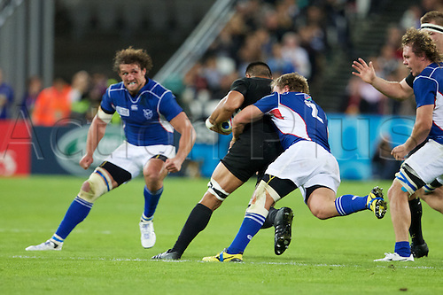 24.09.2015. Olympic Stadium, London, England. Rugby World Cup. New Zealand versus Namibia. Namibia hooker Torsten van Jaarsveld makes a tackle.