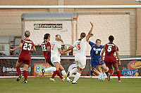 SAN ANTONIO, TX - NOVEMBER 2, 2011: Game 3 of the 2011 Big 12 Conference Women's Soccer Championship Quarterfinals featuring the Oklahoma State University Cowgirls vs. the University of Oklahoma Sooners at the Blossom Soccer Stadium. (Photo by Jeff Huehn)