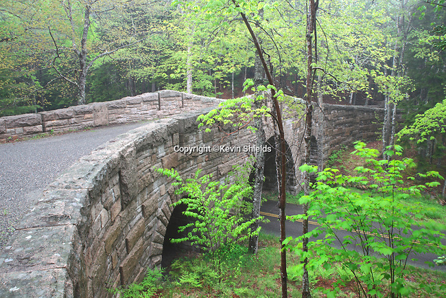 Stone bridge on a carriage road at Acadia National Park, Maine, USA