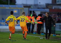 Jason McCarthy (22) of Wycombe Wanderers celebrates after scoring with Manager Gareth Ainsworth during the Sky Bet League 2 match between AFC Wimbledon and Wycombe Wanderers at the Cherry Red Records Stadium, Kingston, England on 21 November 2015. Photo by Alan  Stanford/PRiME.