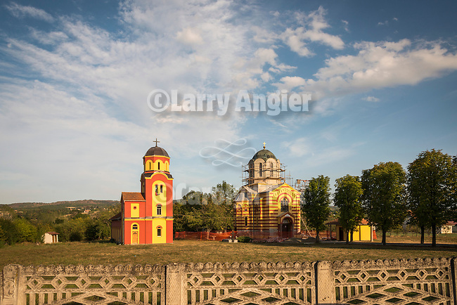 Orthodox churches, Bresnica, Serbia, with clouds