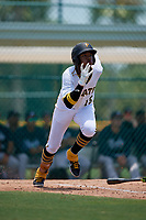 GCL Pirates Angel Basabe (16) runs to first base during a Gulf Coast League game against the GCL Braves on July 30, 2019 at Pirate City in Bradenton, Florida.  GCL Braves defeated the GCL Pirates 10-4.  (Mike Janes/Four Seam Images)