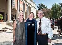 Religious studies associate professor Kristi Upson-Saia poses with Linda and Tod White '59. 508 members of the Class of 2020 are welcomed to Occidental College by trustees, faculty and staff in Thorne Hall on Aug. 30, 2016 during Oxy's 129th Convocation ceremony, a tradition that formally marks the start of the academic year and welcomes the new class.<br /> (Photo by Marc Campos, Occidental College Photographer)
