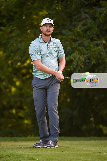 Chris Stroud (USA) watches his tee shot on 6 during round 3 of the 2019 Charles Schwab Challenge, Colonial Country Club, Ft. Worth, Texas,  USA. 5/25/2019.<br /> Picture: Golffile   Ken Murray<br /> <br /> All photo usage must carry mandatory copyright credit (© Golffile   Ken Murray)