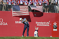 Raffa Cabrera-Bello  (Team Europe)  on the 1st tee during the Friday afternoon Fourball at the Ryder Cup, Hazeltine national Golf Club, Chaska, Minnesota, USA.  30/09/2016<br /> Picture: Golffile | Fran Caffrey<br /> <br /> <br /> All photo usage must carry mandatory copyright credit (&copy; Golffile | Fran Caffrey)