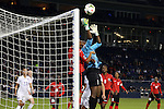 15 October 2014: Kimika Forbes (TRI) (1) makes a save with Lauren Hutchinson (TRI) (20) in support. The United States Women's National Team played the Trinidad and Tobago Women's National Team at Sporting Park in Kansas City, Kansas in a 2014 CONCACAF Women's Championship Group A game, which serves as a qualifying tournament for the 2015 FIFA Women's World Cup in Canada. The United States won the game 1-0.