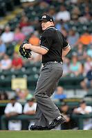 Umpire Dave Attridge during a game between the Jupiter Hammerheads and Bradenton Marauders on April 18, 2015 at McKechnie Field in Bradenton, Florida.  Bradenton defeated Jupiter 4-1.  (Mike Janes/Four Seam Images)